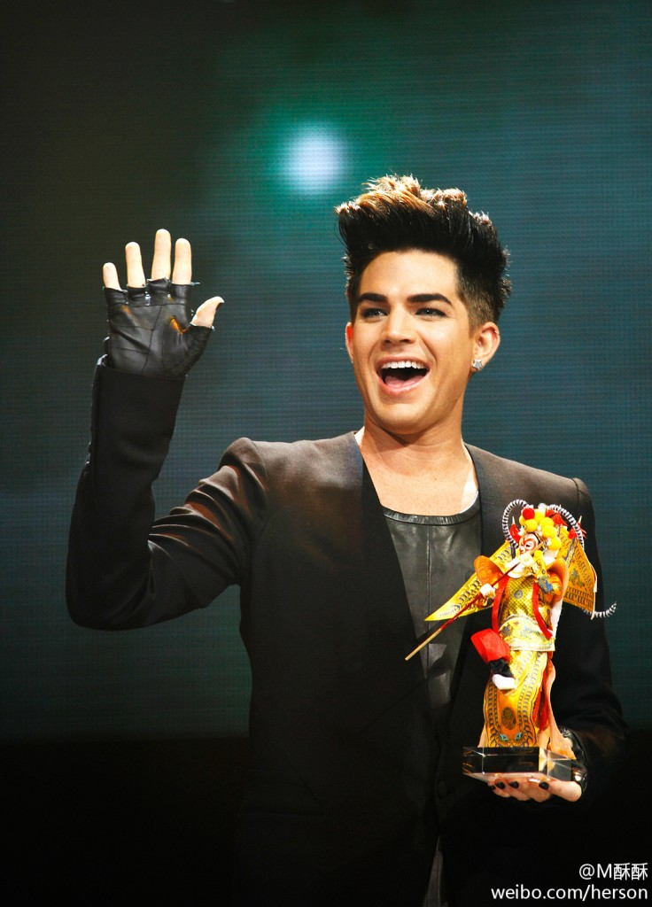 "Adam receiving the ""Most Popular International Artist"" award at the CMAs"