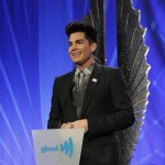 Adam receiving the GLAAD Davidson/Valentini Award